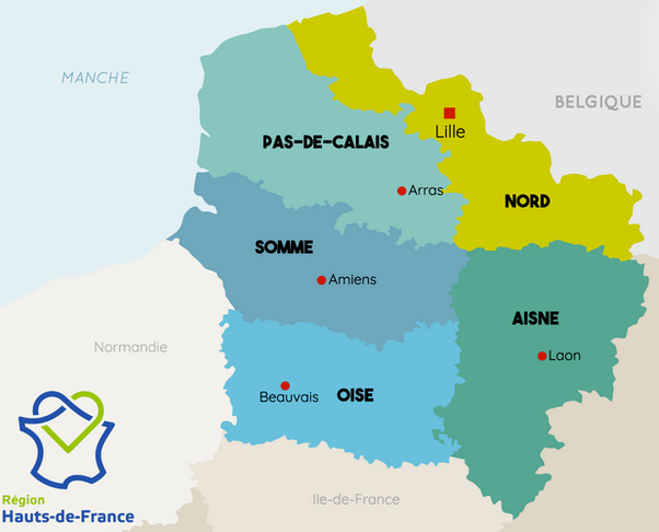 Carte de la région hauts de france