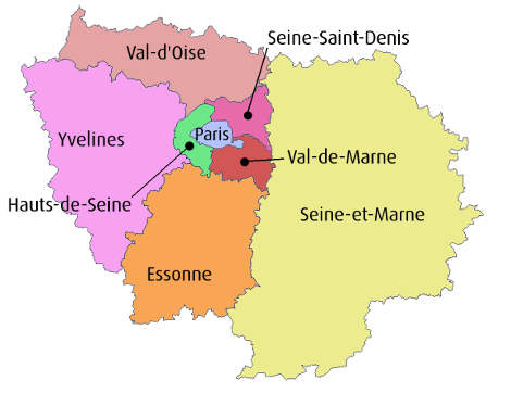 Carte des départements de la région ile de france